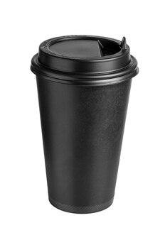 Vista upper-front della tazza di caffè nero in cartone con coperchio isolato su sfondo bianco.