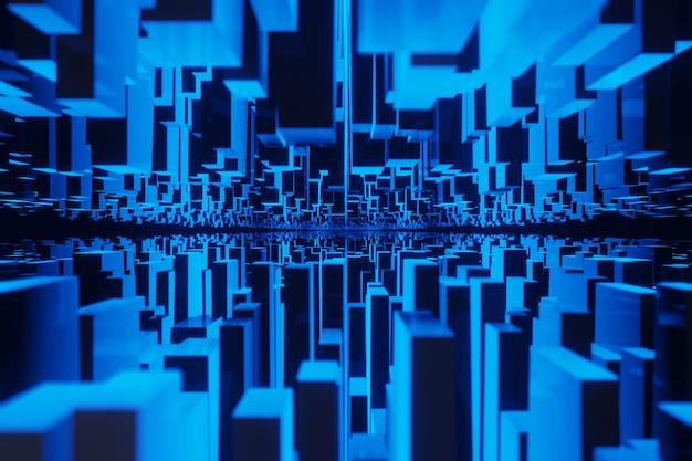 Città capovolta inception concetto geometria del paesaggio cubo o blocco rendering 3d sfondo incandescente