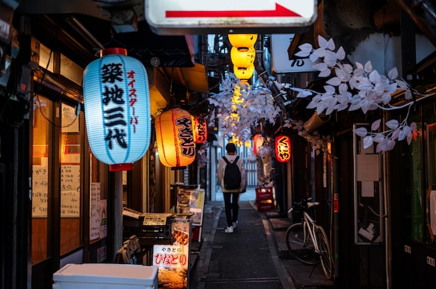 Paesaggio urbano con lampade giapponesi