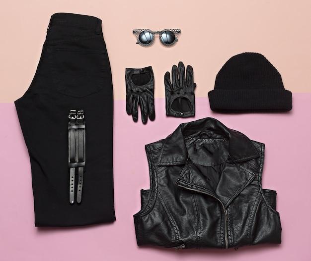 Moda di strada urbana. vestito nero hipster vestiti alla moda primavera