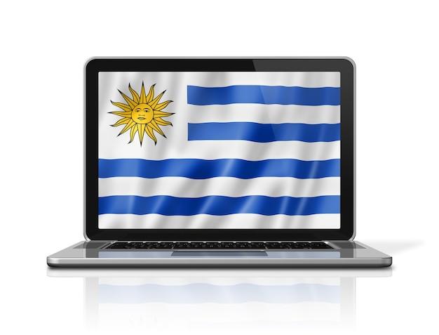 Bandiera dell'uruguay sullo schermo del laptop isolato su bianco. rendering di illustrazione 3d.