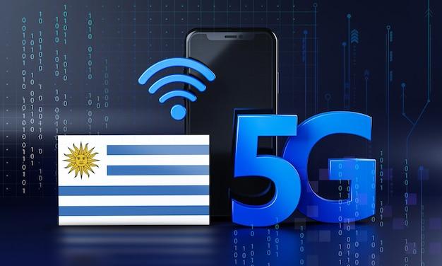 Uruguay pronto per il concetto di connessione 5g. sfondo di tecnologia smartphone rendering 3d
