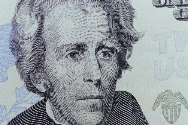Il presidente degli stati uniti jackson affronta la macro della fattura dei venti o venti dollari degli stati uniti, primo piano dei soldi degli stati uniti