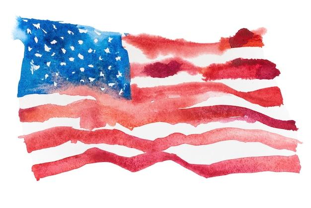 Stati uniti d'america, bandiera americana. stati uniti d'america. illustrazione dell'acquerello disegnato a mano.