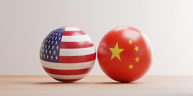 Schermo pinta bandiera usa e cina sulle palle per la guerra commerciale tariffaria e la guerra militare tra i due paesi in conflitto con il rendering 3d.