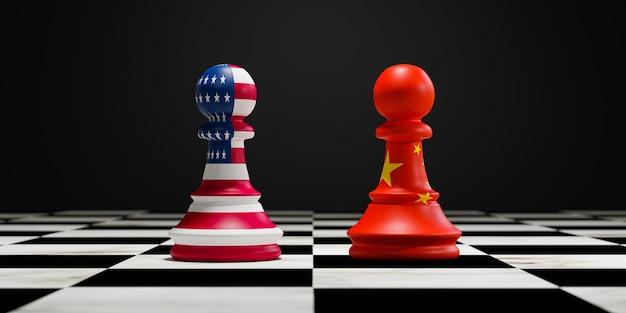 La bandiera degli stati uniti e la bandiera della cina stampano lo schermo sugli scacchi dei pedoni sulla scacchiera per la concorrenza della guerra commerciale e militare tra entrambi i paesi. rendering 3d