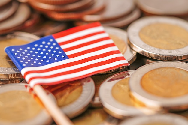Bandiera usa sulle monete