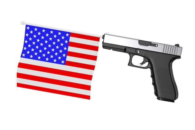 Bandiera usa che esce dalla pistola moderna su uno sfondo bianco 3d rendering