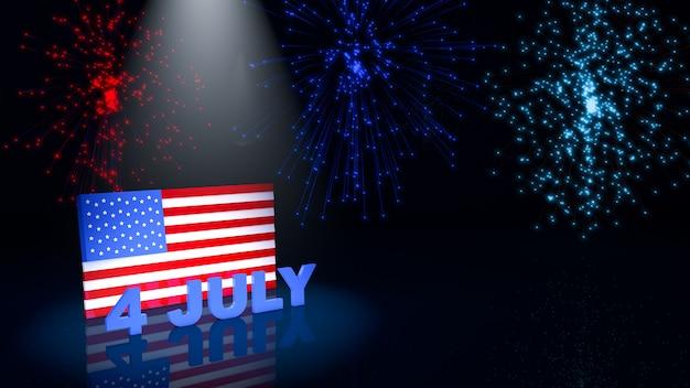 Bandiera e fuochi d'artificio degli sua a luglio