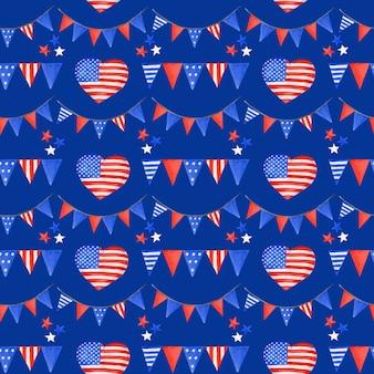 Fondo patriottico del modello delle bandiere delle vacanze degli usa