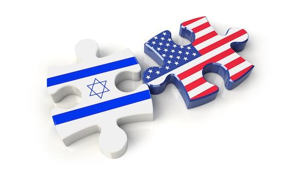 Bandiere usa e israele sui pezzi del puzzle. concetto di relazione politica. rendering 3d