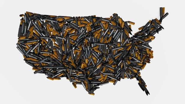 Mappa degli stati uniti piena di proiettili di pistola e cartucce