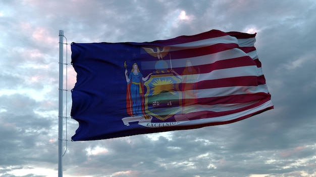 Bandiera mista di stati uniti e new york che sventola nel vento