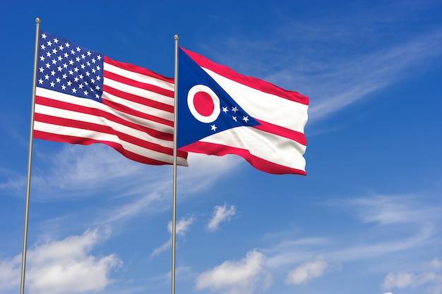 Bandiere usa e ohio su sfondo blu cielo. illustrazione 3d