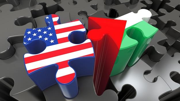 Bandiere degli stati uniti e della palestina sui pezzi del puzzle. concetto di relazione politica. rendering 3d
