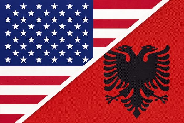 Bandiera nazionale usa vs albania Foto Premium