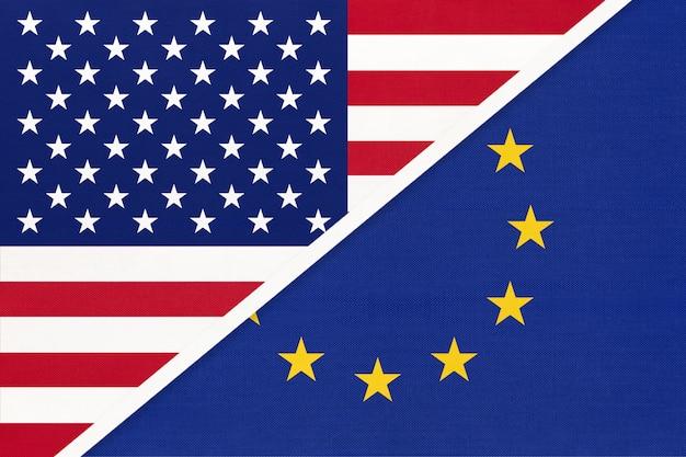 Bandiera nazionale usa vs unione europea. rapporto tra paesi americani ed europei.