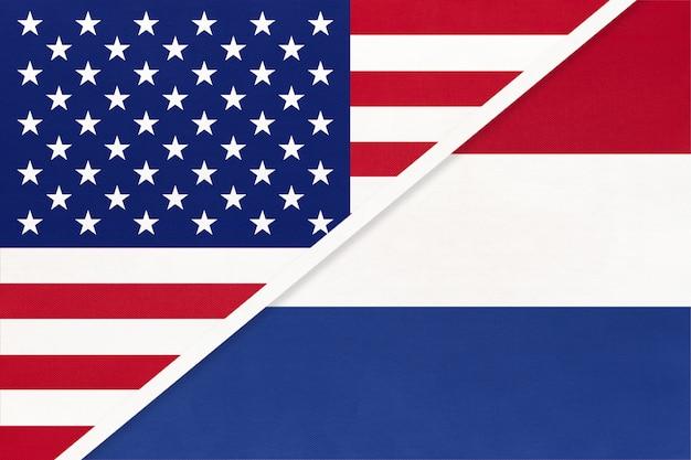 Bandiera nazionale usa vs olanda dal tessile. rapporto tra paesi americani ed europei.