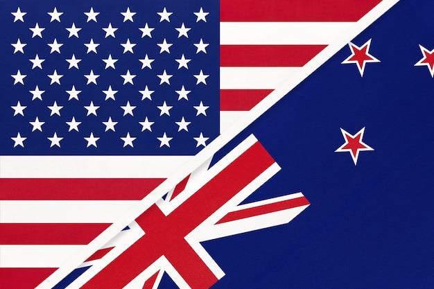 Bandiera nazionale usa vs nuova zelanda dal tessile. rapporto tra paesi americani e oceanici.