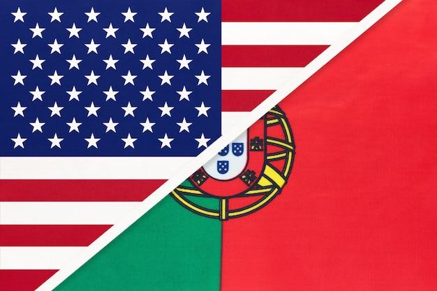 Bandiera nazionale usa vs portogallo dal tessile. rapporto tra paesi americani ed europei.