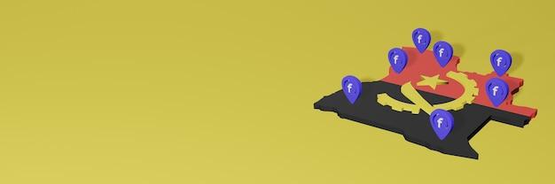 Utilizzo e distribuzione dei social media facebook in angola per infografiche in rendering 3d