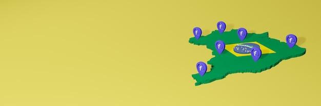 Utilizzo e distribuzione dei social media facebook in brasile per infografiche in rendering 3d Foto Premium