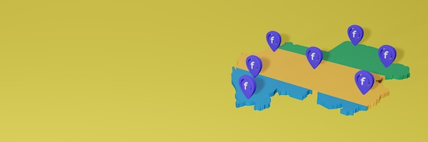 Utilizzo e distribuzione dei social media facebook in gabon per infografiche in rendering 3d