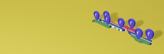 Utilizzo e distribuzione dei social media facebook in gambia per infografiche in rendering 3d