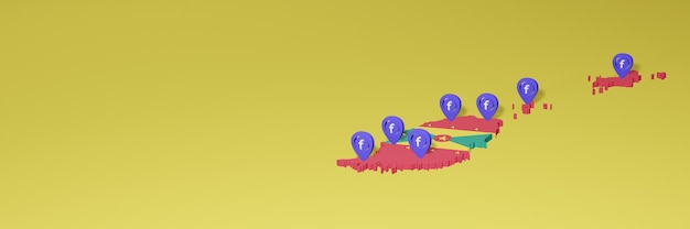 Uso e distribuzione dei social media facebook a grenada per infografiche in rendering 3d