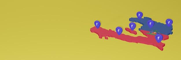 Utilizzo e distribuzione dei social media facebook ad haiti per infografiche in rendering 3d