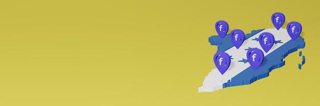 Utilizzo e distribuzione dei social media facebook in honduras per infografiche in rendering 3d