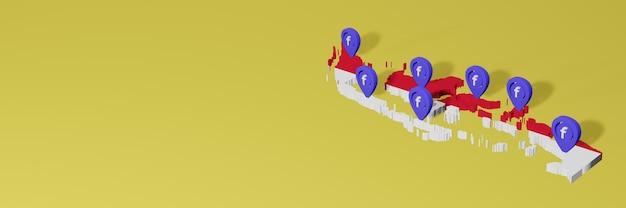 Utilizzo e distribuzione dei social media facebook in indonesia per infografiche in rendering 3d