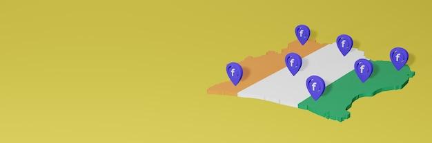 Utilizzo e distribuzione dei social media facebook in costa d'avorio per infografiche in rendering 3d