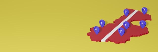 Utilizzo e distribuzione dei social media facebook in lettonia per infografiche in rendering 3d