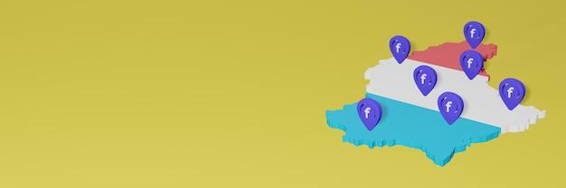 Utilizzo e distribuzione dei social media facebook in lussemburgo per infografiche in rendering 3d