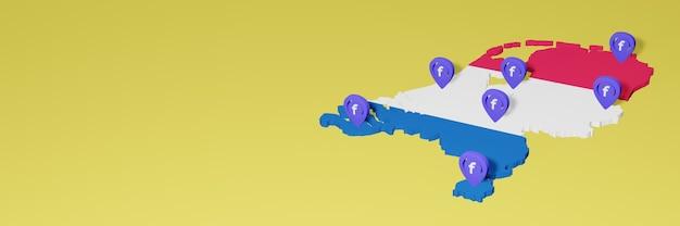Uso e distribuzione dei social media facebook in olanda per infografiche in rendering 3d
