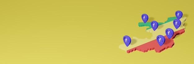 Utilizzo e distribuzione dei social media facebook in repubblica del congo per infografiche in rendering 3d
