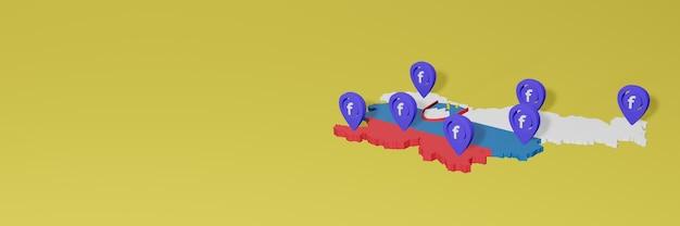 Utilizzo e distribuzione dei social media facebook in slovenia per infografiche in rendering 3d