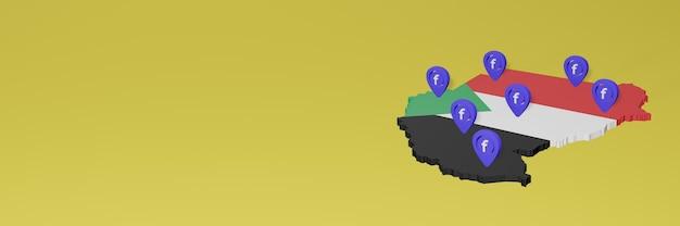 Utilizzo e distribuzione dei social media facebook in sudan per infografiche in rendering 3d