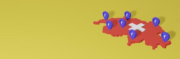 Utilizzo e distribuzione dei social media facebook in svizzera per infografiche in rendering 3d