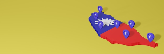 Uso e distribuzione dei social media facebook a taiwan per infografiche in rendering 3d