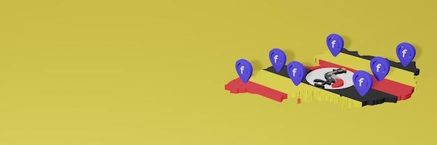 Utilizzo e distribuzione dei social media facebook in uganda per infografiche in rendering 3d