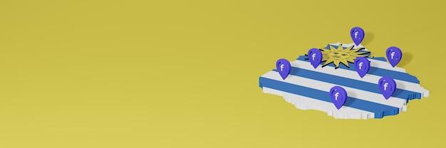 Utilizzo e distribuzione dei social media facebook in uruguay per infografiche in rendering 3d