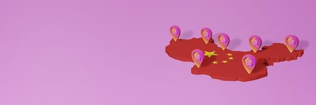 Uso e distribuzione dei social media instagram in cina per infografiche in rendering 3d