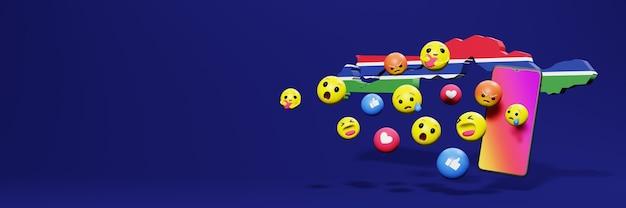 Usa emoticon in gambia per le esigenze dei social media tv e lo sfondo del sito web coprono lo spazio vuoto