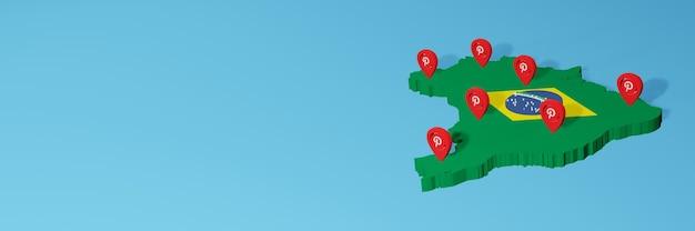 L'uso di pinterest in brasile per le esigenze dei social media tv e lo sfondo del sito web coprono uno spazio vuoto