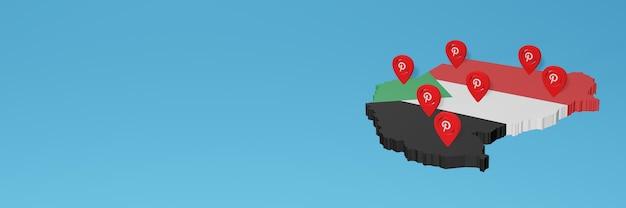 L'uso di pinterest in sudan per le esigenze dei social media tv e lo sfondo del sito web coprono uno spazio vuoto