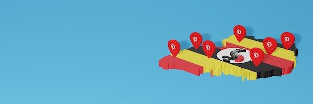 L'uso di pinterest in uganda per le esigenze dei social media tv e lo sfondo del sito web coprono uno spazio vuoto