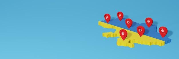 Utilizzo di pinterest in ucraina per le esigenze della tv sui social media e della copertina del sito web