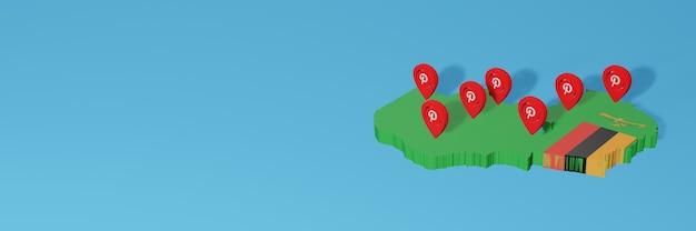 L'uso di pinterest in zambia per le esigenze dei social media tv e lo sfondo del sito web coprono uno spazio vuoto